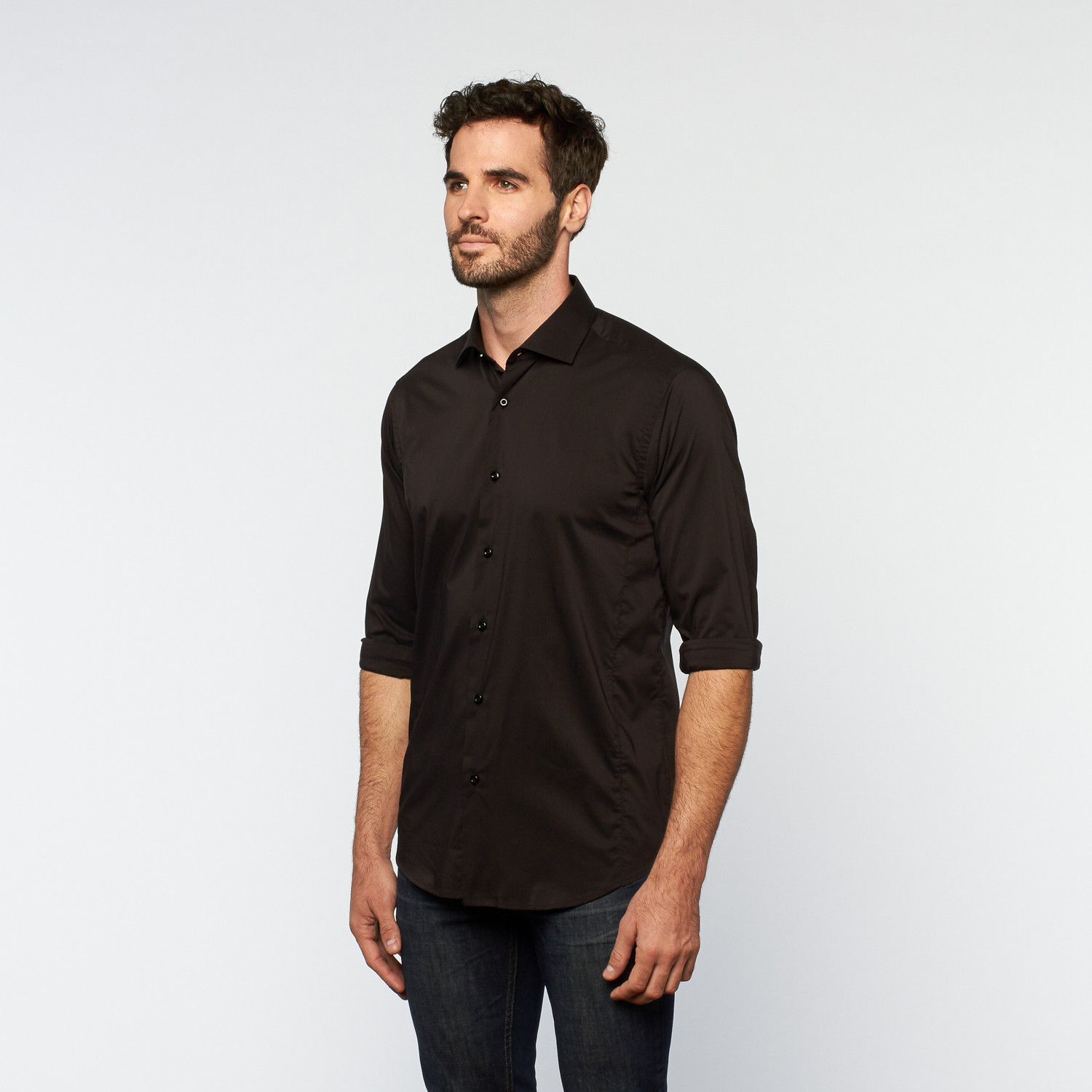 Brio Milano // Button Up Long-Sleeve Shirt // Black (S) - European ...