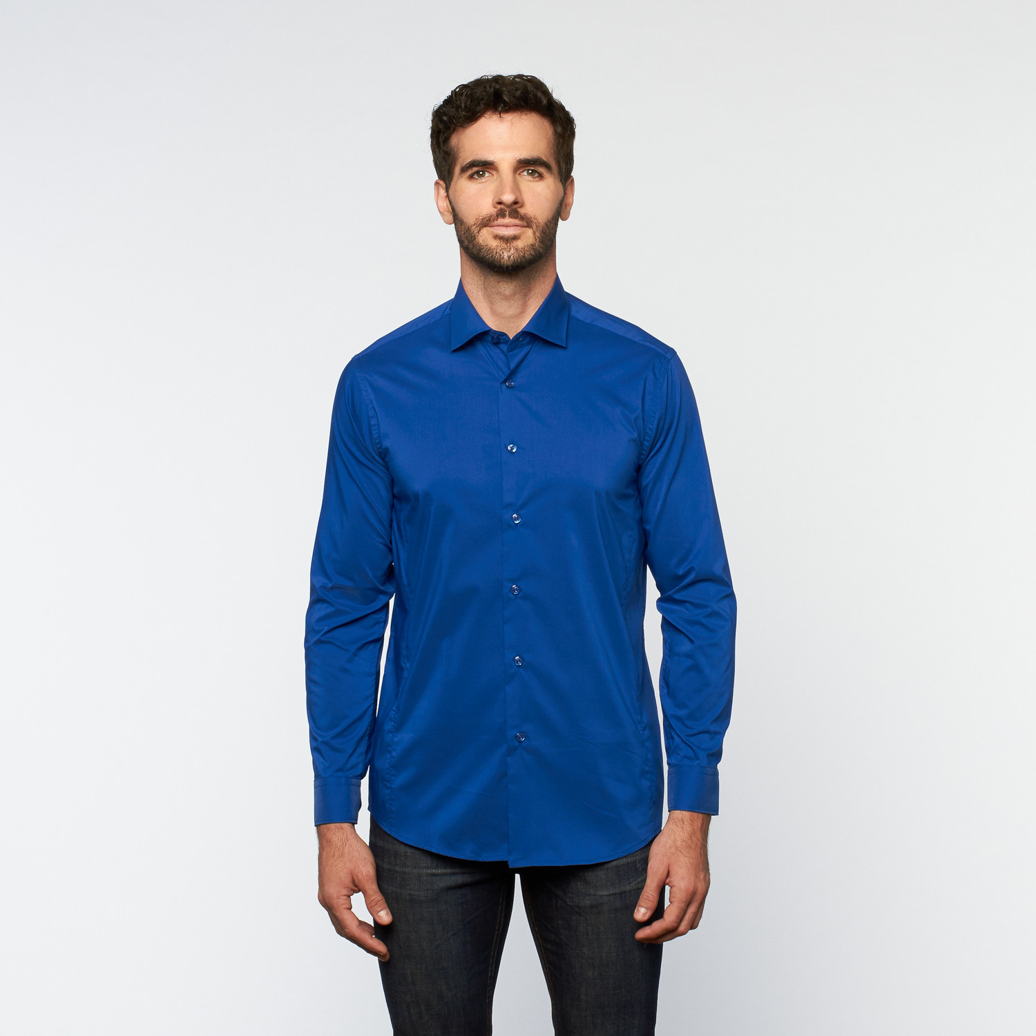 Brio milano button up long sleeve shirt royal blue for Royals button up shirt