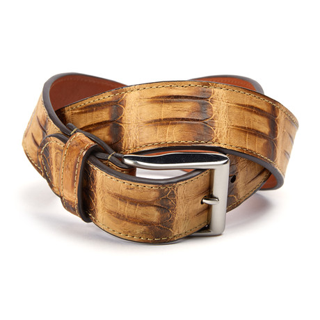 "Genuine Crocodile Tail Belt // Tan (32"" Waist)"