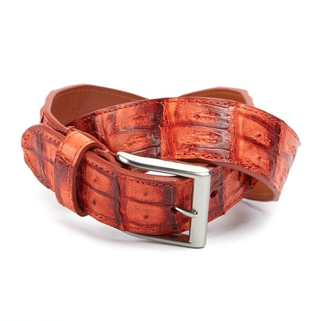 "Genuine Crocodile Tail Belt // Tangerine (32"" Waist)"