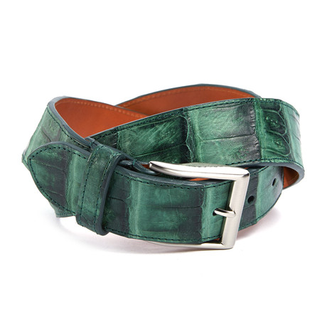"Genuine Crocodile Tail Belt // Evergreen (32"" Waist)"