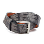 "Genuine Crocodile Tail Belt // Grey (36"" Waist)"