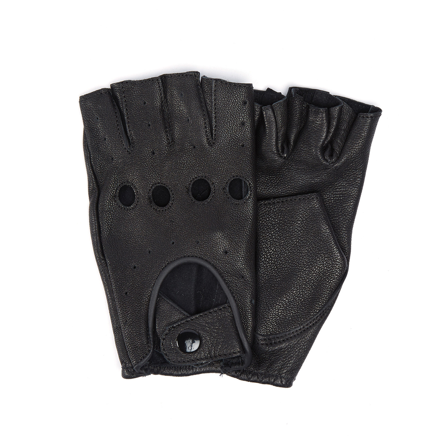 Black leather cut off gloves -