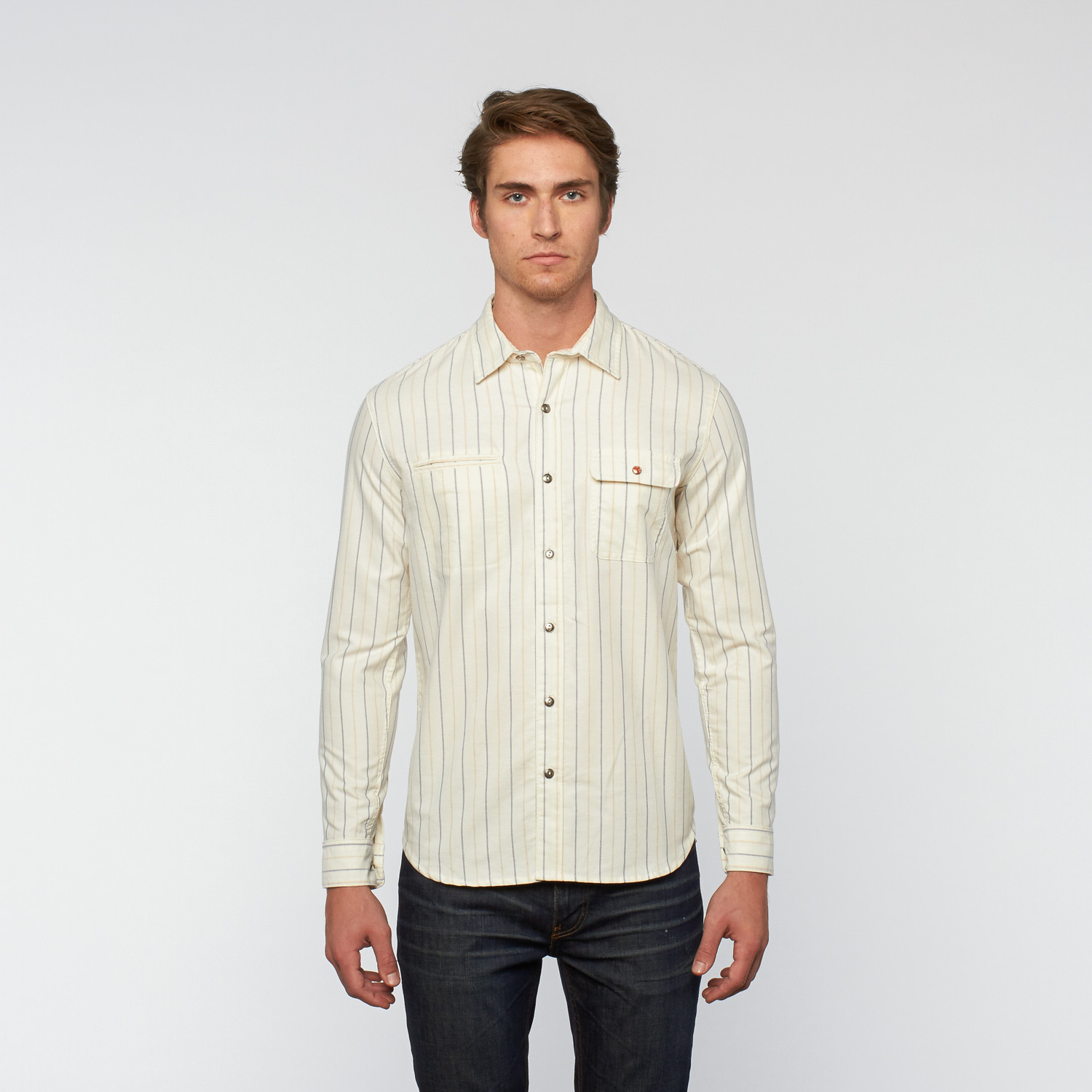 Norman Russell // Tommy Button Down // White Stripe