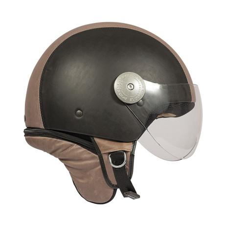Sand + Chocolate Two Tone Leather Helmet