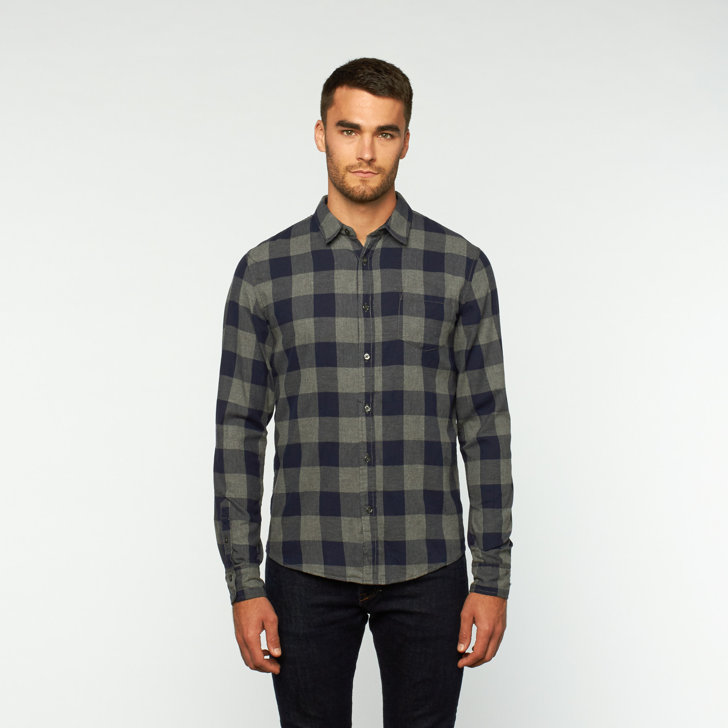 Mason Button Up Shirt Navy S Px Clothing Touch Of