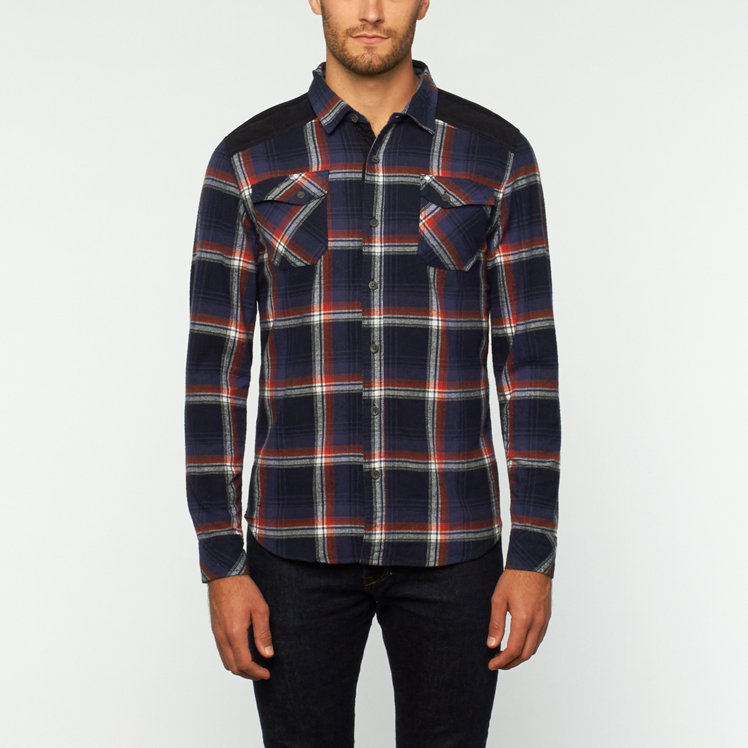 Emile Button Up Shirt Navy S Px Clothing Touch Of