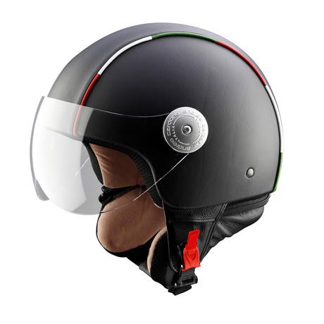 Italian Stripes Black Leather Helmet