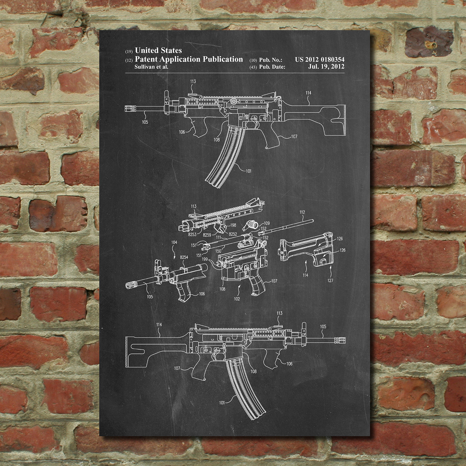 Ar 15 Blueprint Firearm Patent Prints Touch Of Modern