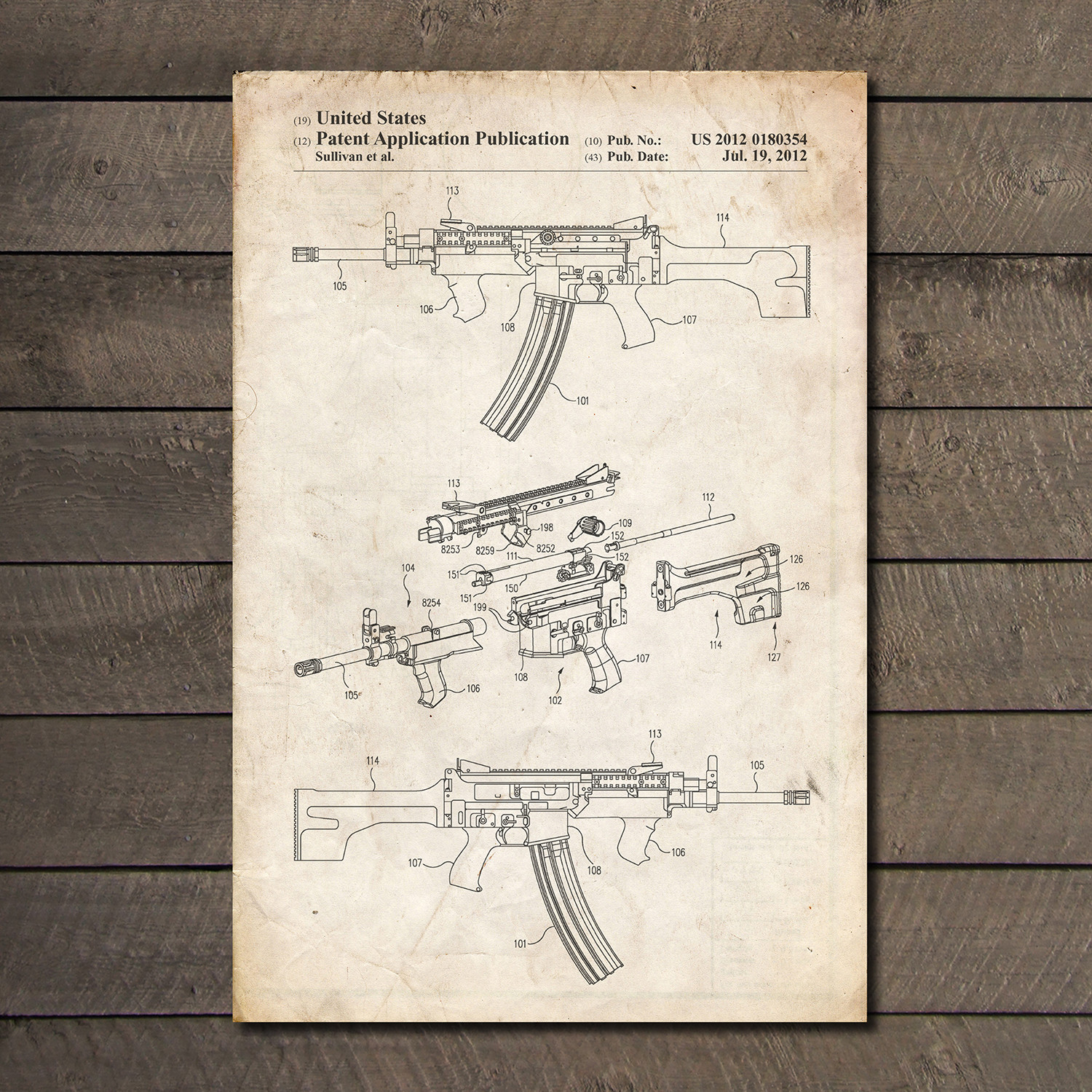 Ar 15 blueprint firearm patent prints touch of modern for My blueprint arkansas