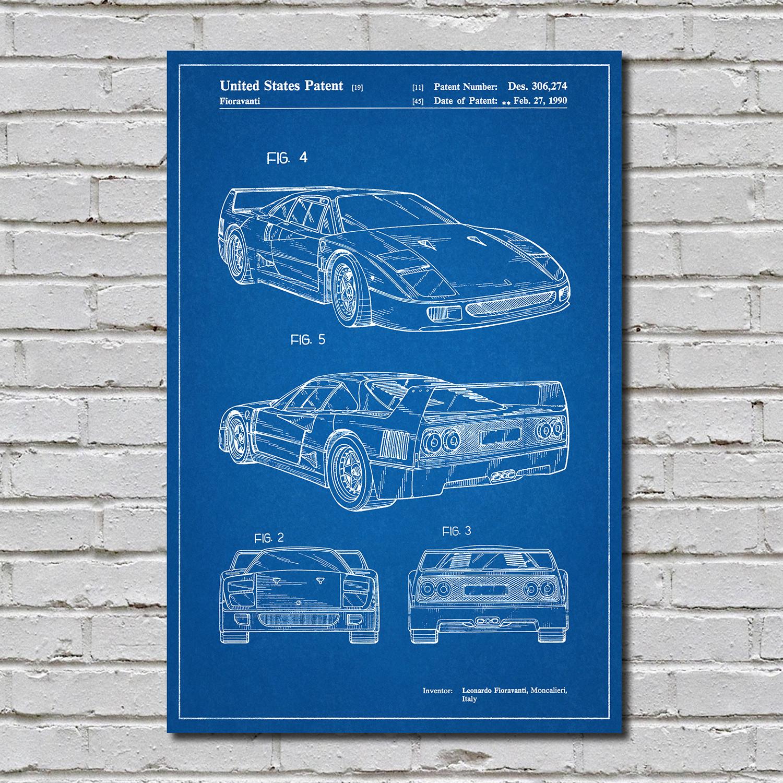 Ferrari F40 Blueprint Auto Patent Prints Touch Of Modern