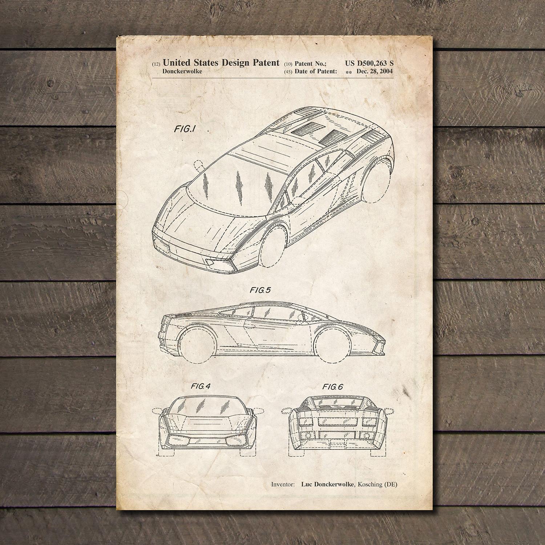 Lamborghini gallardo blueprint auto patent prints touch of lamborghini gallardo blueprint malvernweather Image collections