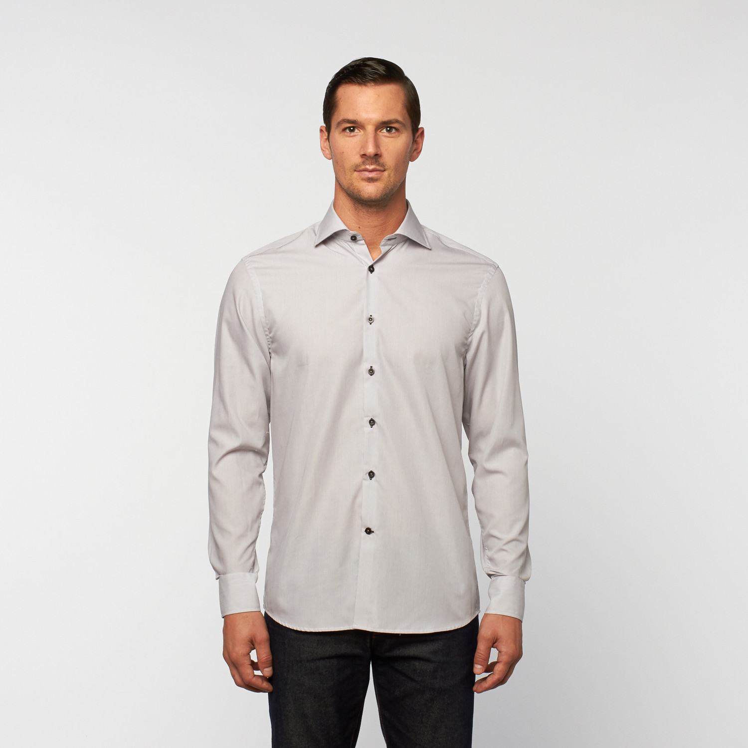 unanyme button up dress shirt light grey s georges