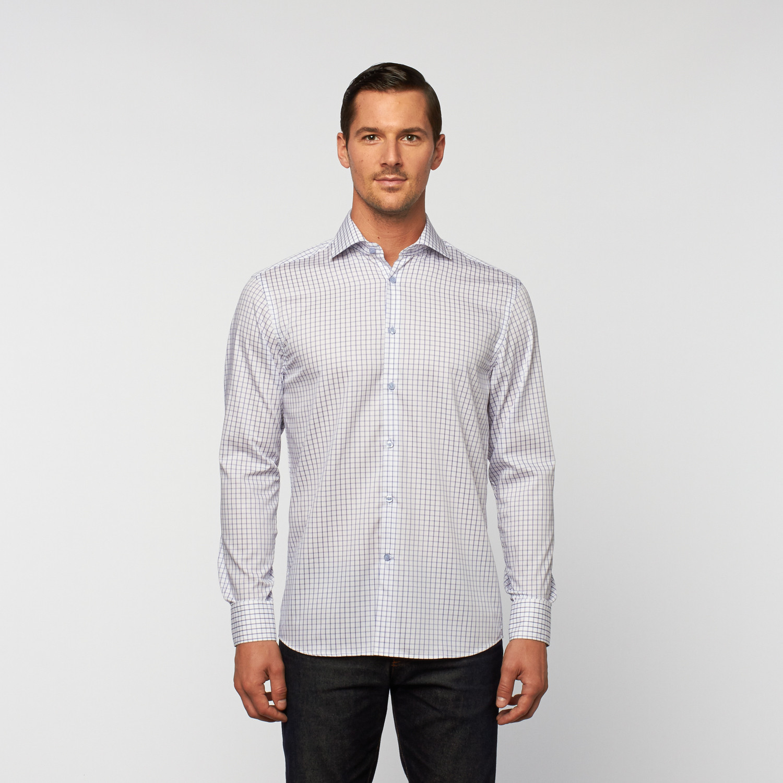 Unanyme Button Up Dress Shirt Blue White Check S