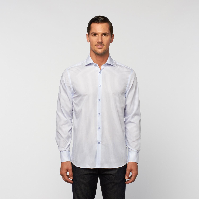 Unanyme Button Up Dress Shirt White Blue Stripe S