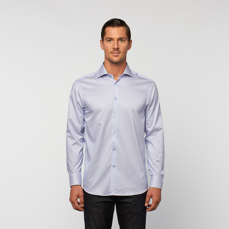 Unanyme Button Up Dress Shirt Blue White Pinstripe S