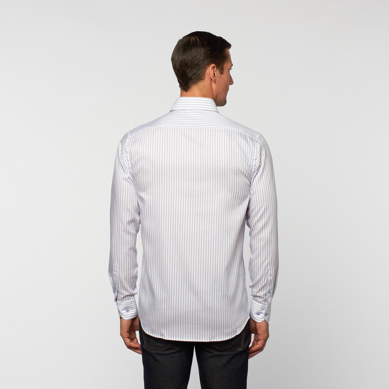 Unanyme button up dress shirt blue white stripe s for Blue white dress shirt