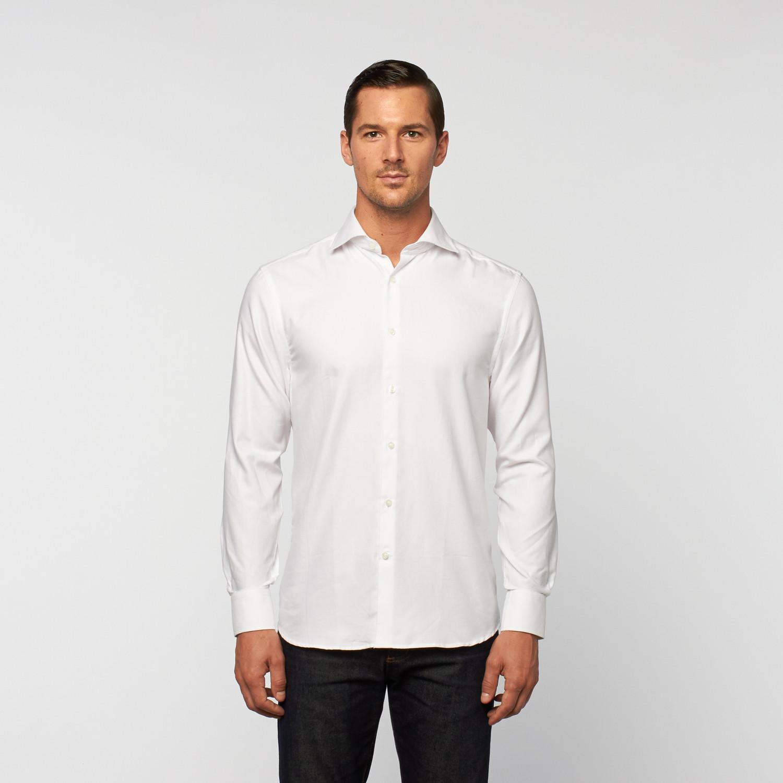 Unanyme Button Up Dress Shirt White Thin Stripe S