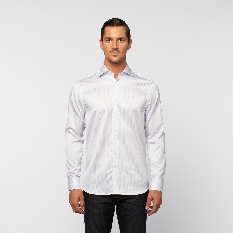 Unanyme Striped Button Up Dress Shirt White Light