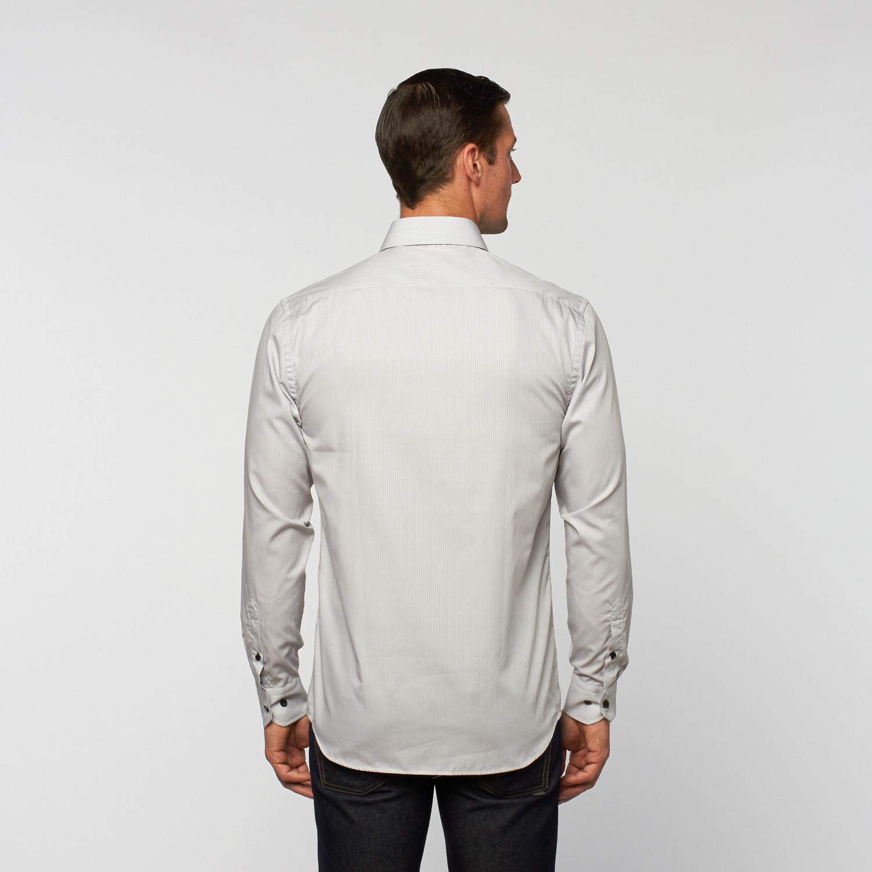 Unanyme Button Up Dress Shirt Grey White Stripe S