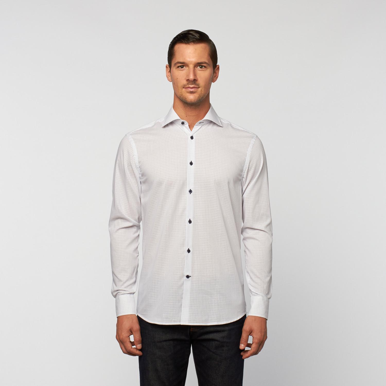 Unanyme Button Up Broken Double Stripe Dress Shirt Grey