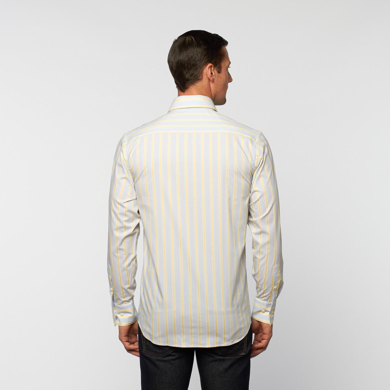 Unanyme button down stripe dress shirt yellow blue s for Blue and yellow dress shirt