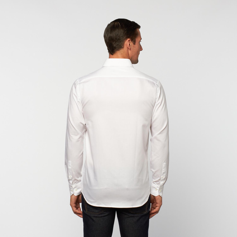 Unanyme Button Up Dress Shirt White Micro Shadow Stripe