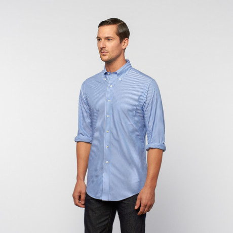 Poplin Button-Down // Sea Blue Stripe (US: 18R)
