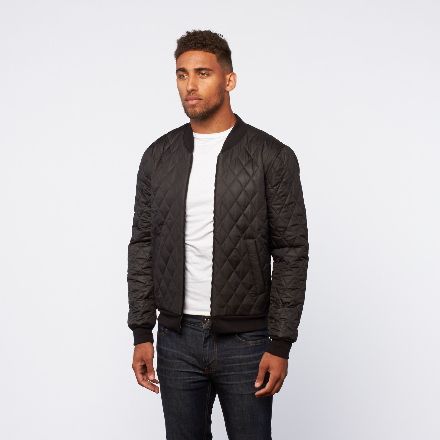 Quilted Bomber Jacket // Black (S) - Visent Apparel - Touch of Modern
