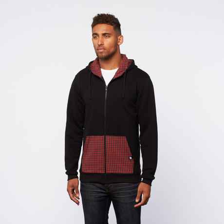 Contrast Pocket Zip-Up Hoodie // Black