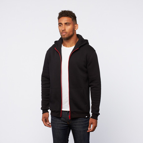 Contrast Zip-Up Hoodie // Black