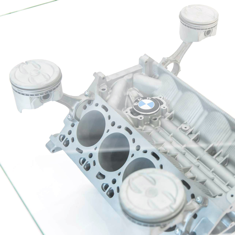 V8 Engine Glass Table: V8 BMW 750i Coffee Table