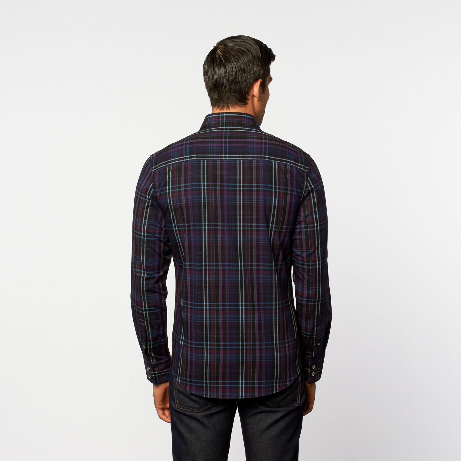 Button Up Shirt Dark Blue Purple Plaid S Platini