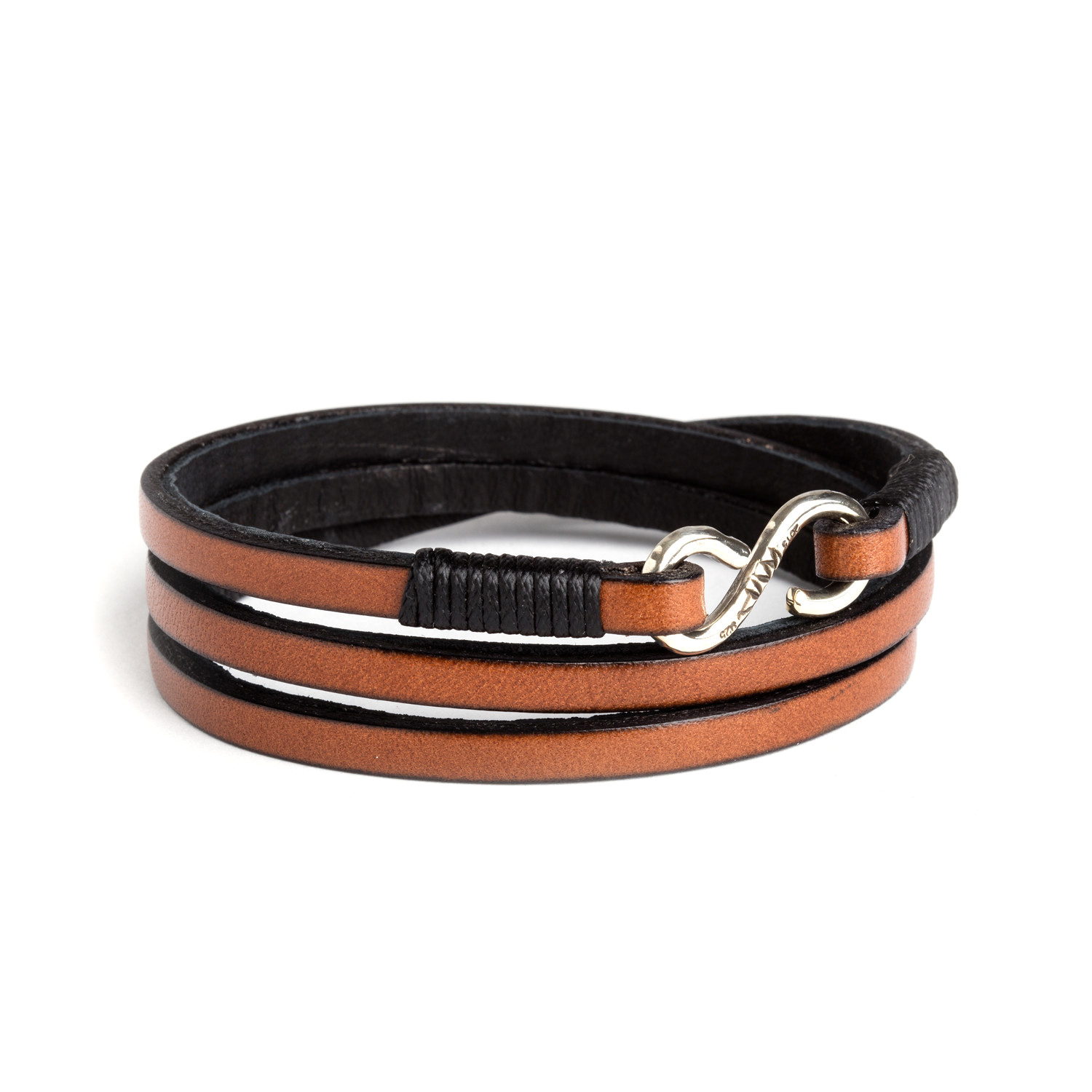 Sterling Silver Leather Wrap Bracelet Brown Small