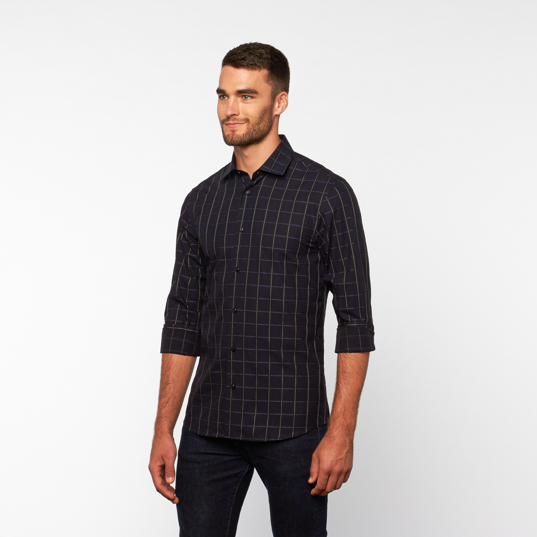 Button Up Shirt Navy Blue Plaid S Dolce Guava