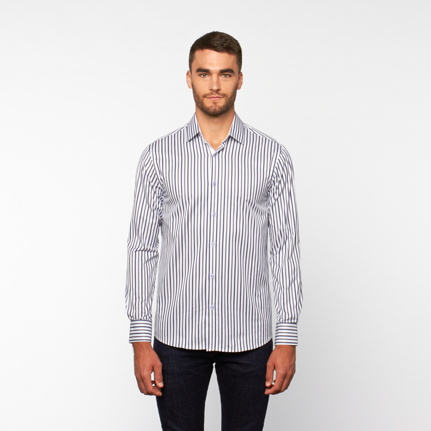 Striped Button Up Shirt Navy Grey White S Dolce