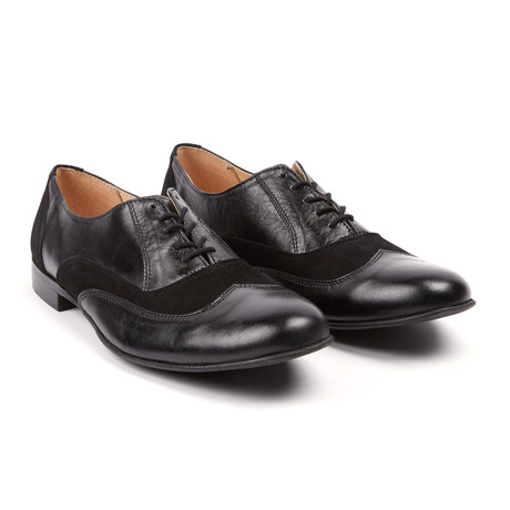 MYS // Lord Chancellor Suede + Leather Wingtip Oxford // Black