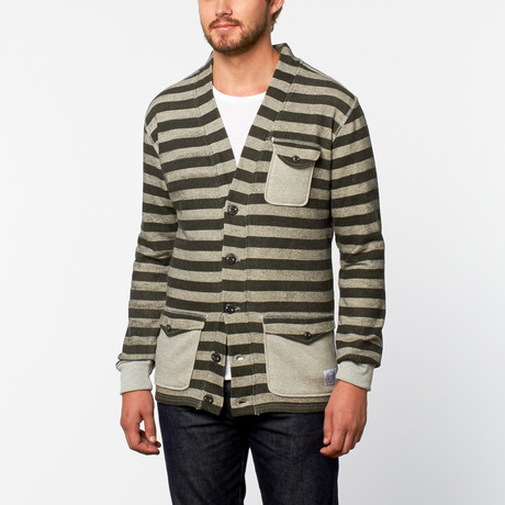 ViveShirt // Flap Pocket Cardigan // Black Stripe (L)