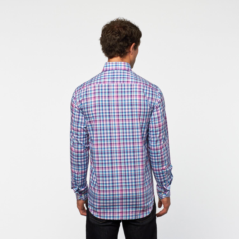 Grace bay button up shirt purple plaid s tailorbyrd for Purple plaid button up shirt