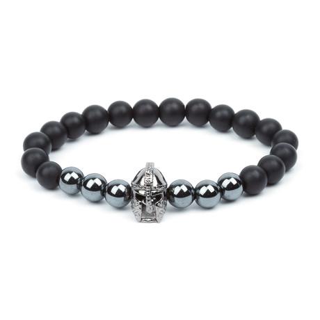 Lava Stone + Hematite Gladiator Bracelet // Silver + Black