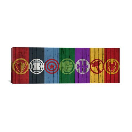 "Avengers Symbols (36""W x 12""H x 0.75""D)"