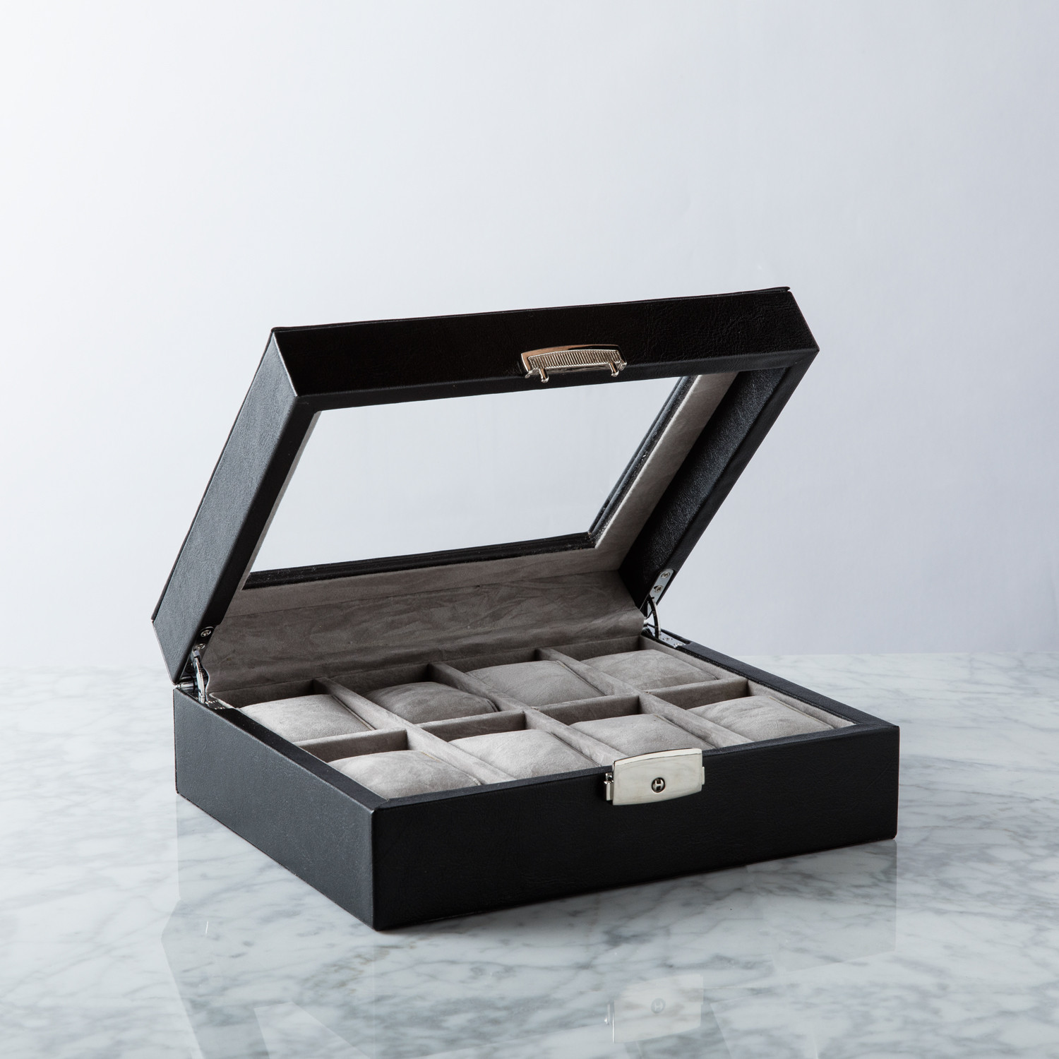 Brand new 8 Slot Watch Box // Black Leather - Wilouby - Touch of Modern CL13