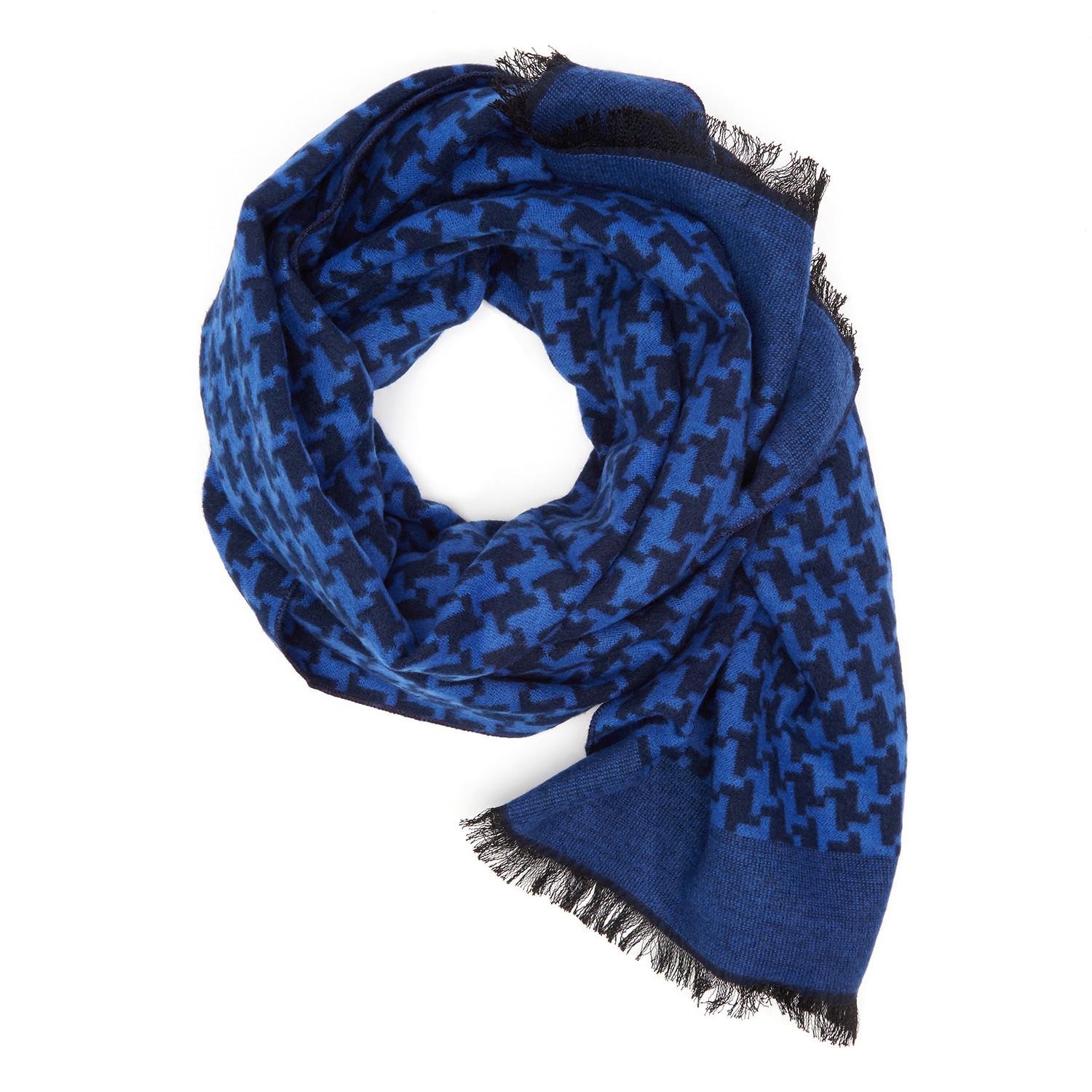Blue + Black Houndstooth Scarf - DIBI - Touch of Modern