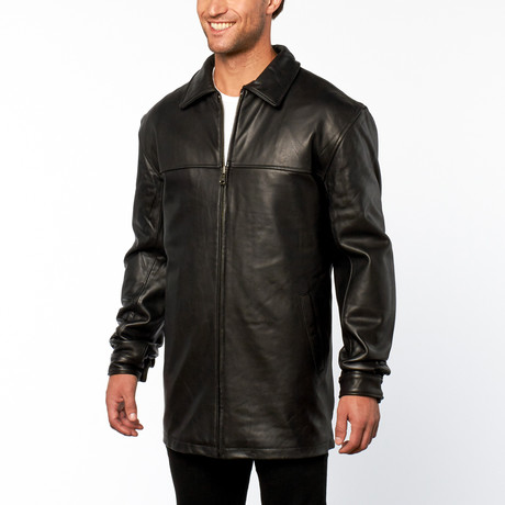 Leather James Dean Coat // Black