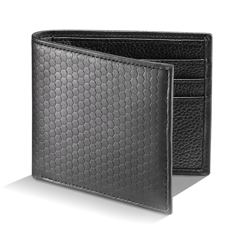 Woodham Honeycomb Embossed Leather Wallet Black