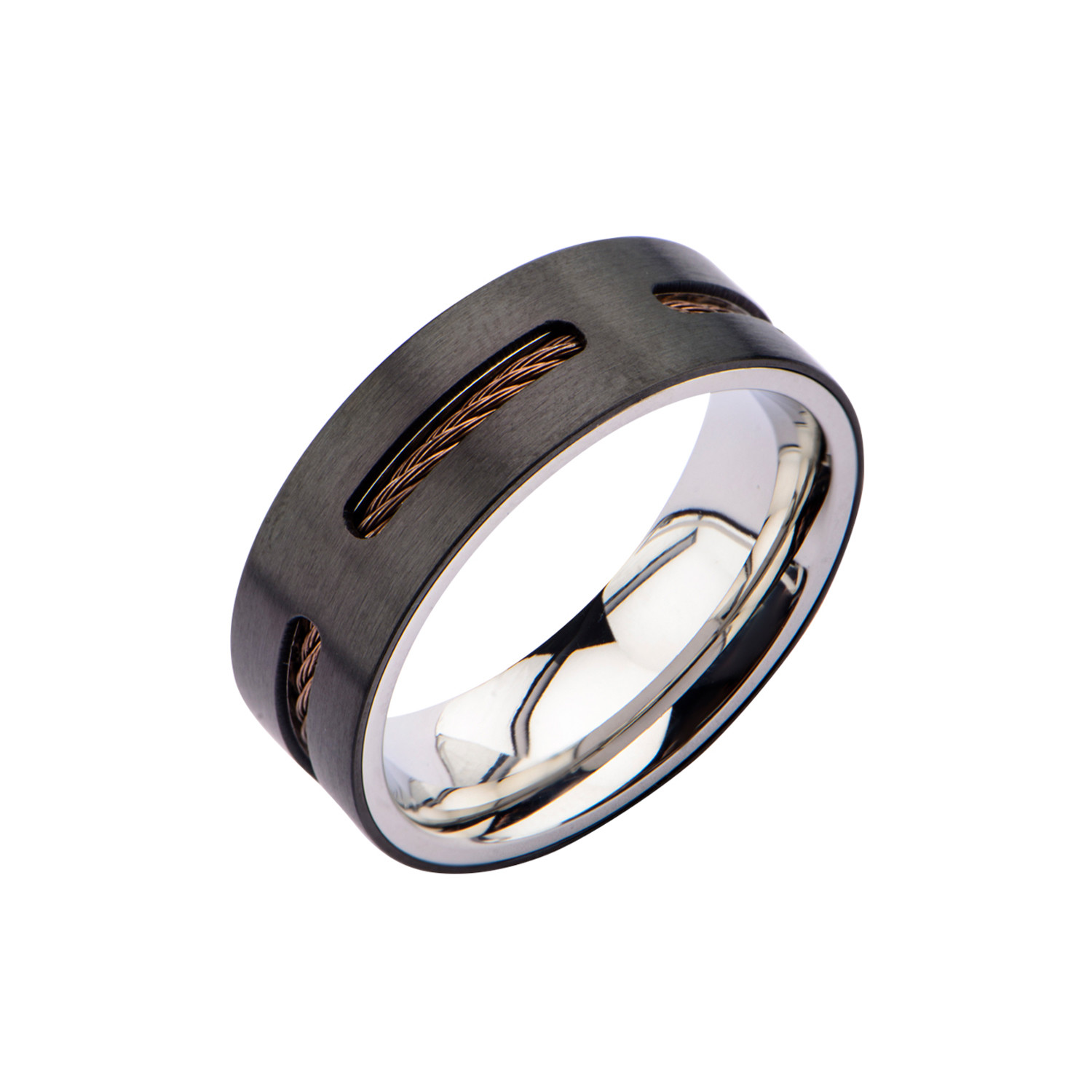 stainless steel cable window inlay ring black brown size 9 inox rings touch of modern. Black Bedroom Furniture Sets. Home Design Ideas