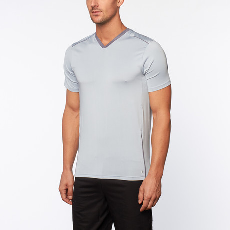 Performance V-Neck Short Sleeve Tee // Sky Blue + Slate
