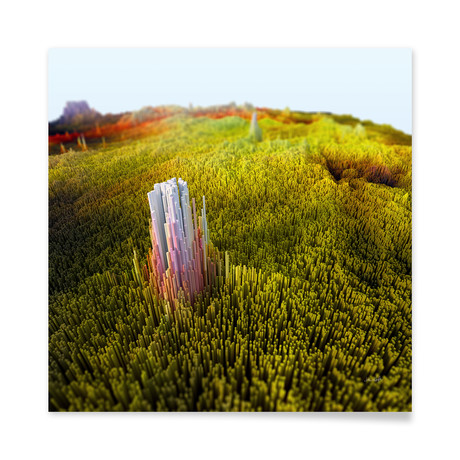 "Monolith in Green Fields // Aluminum Print (16""L x 16""H)"