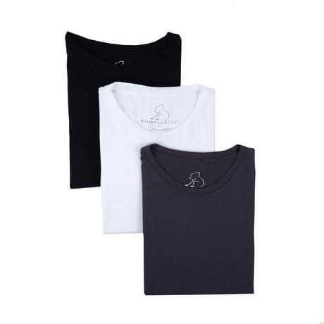 Crewneck Supima Cotton Tees // Black + White + Charcoal // Set of 3