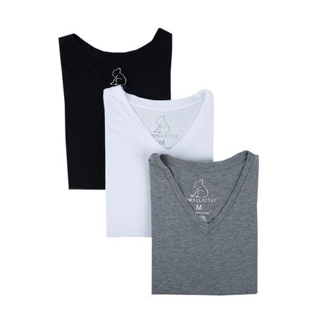 V-Neck Essential Cotton Tees // Black + White + Grey // Set of 3